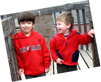 kids in red shirts
